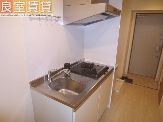 システムキッチン(ガスコンロ2口)※同タイプ別室の写真です。現状優先。