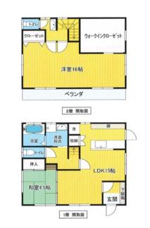 建物面積96.88㎡ 広めのウォークインクローゼットがある2LDK+S。二階はツードアワンルームの為、容易に3LDKへ変更可能。