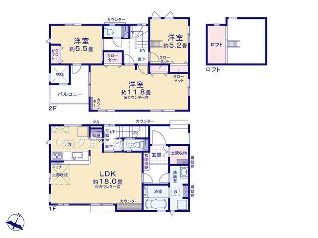 【区画図】北区奈良町104-4(2号棟)新築一戸建てブルーミングガーデン