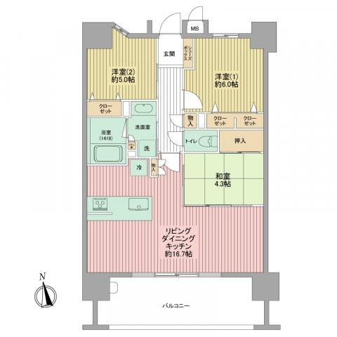 バルコニーに面した広~いLDKはとっても開放的!4.3帖の和室もフラットにつながっているので、約20帖の大空間としても使えますよ