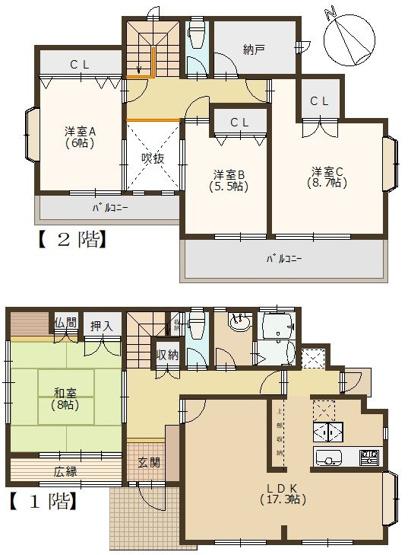 メイン居室は2階にあって、収納も充実!水回りはすべて新品になっているので、リフォームは最低限で入居可能です
