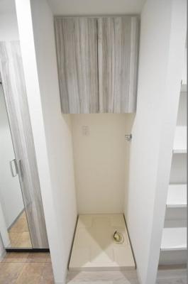 防水パン付きの室内洗濯機置場
