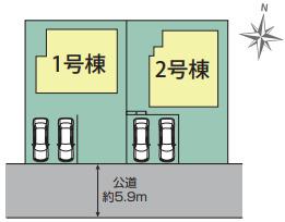 【区画図】伊勢原市大住台 新築戸建 全2棟1号棟