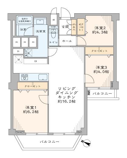 東急ドエルアルス石川台:全居室収納付いた3LDKエアコン付きリノベーション物件です!