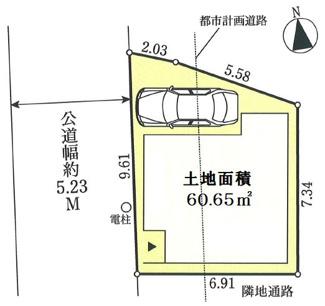 間口の広い敷地。駅徒歩4分の便利な場所です。