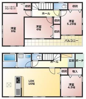 碧南市権現町21-1期新築分譲住宅3号棟間取りです。