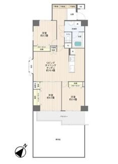 3LDKのファミリータイプ、1階の特典である広々専用庭付です