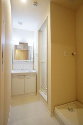 独立洗面所内の洗髪洗面化粧台と洗濯機置場です