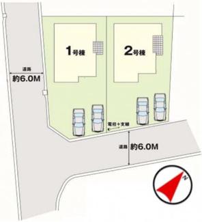 【区画図】郡山市安積町笹川吉田新築一戸建て2棟