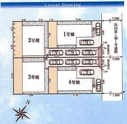 【区画図】福生市加美平1丁目 新築戸建全4棟