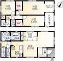1号棟間取り図 価格5080万円、敷地面積148.01㎡、建物面積95.57㎡