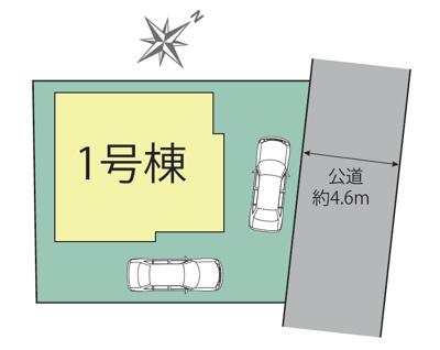 【区画図】北名古屋市六ツ師女夫越 全1棟 1号棟<仲介手数料無料>師勝北小・熊野中 新築一戸建て