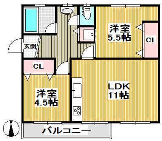 【間取り変更プラン例】3DK→2LDKに間取り変更!浴室ユニットバス!洗濯機置き場室内!温水洗浄便座!シャンプードレッサー!押入→クローゼット!※間取り変更・リフォーム費用は別途必要です。