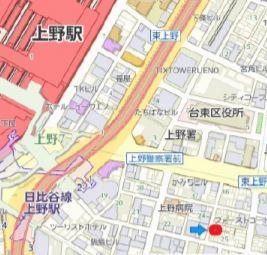 【地図】台東区東上野 商業地域 一棟ビル