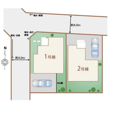 【区画図】東村山市富士見町3丁目 全2棟 1号棟
