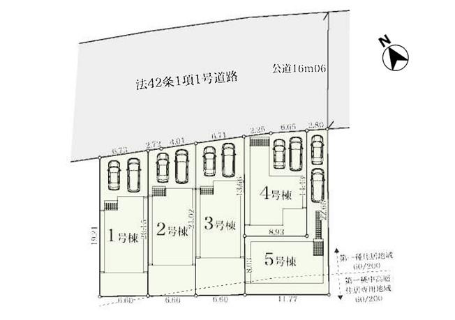 【区画図】羽村市小作台4丁目 新築戸建 全5棟 3号棟