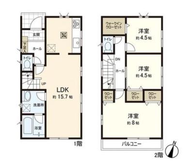 【区画図】所沢市中新井5丁目 全2棟 2号棟