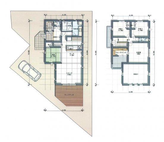 建物プラン例B号地、建物面積63.81平米、1F:63.81平米 2F:46.84平米 建ぺい率:60%容積率:200% 広いウッドデッキが特徴的な間取りプラン。リビング併設なので洗濯がとても便利に