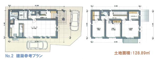 建物プラン例2号地、建物面積55.49平米1F:52.93平米2F:52.93平米容積率:200%建ぺい率:60%  ※カースペースを2台完備した間取りプラン。全居室南向きにし、日当りを重視しました。