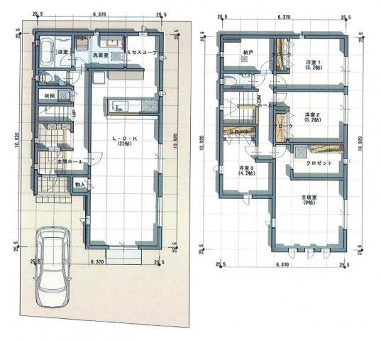 建物プラン例4号地、建物面積124.32平米1F:61.33平米2F:62.99平米容積率:200%建ぺい率:60% お部屋や収納がたっぷり欲しい方へ。納戸は衣裳部屋にしたりお部屋にしても便利♪
