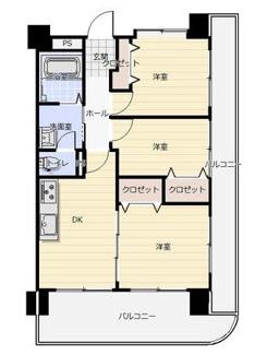 角部屋で明るく開放的な室内です!全てのお部屋がバルコニーに面しております(^^)新婚様からファミリー様まで幅広くおすすめの間取りです!