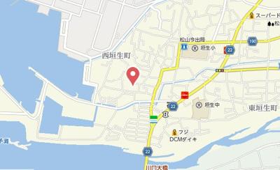 【地図】リラフォート西垣生 Ⅱ