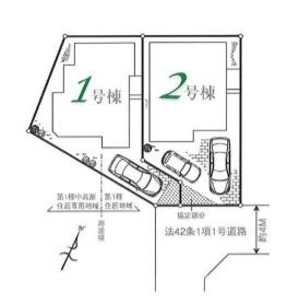 【区画図】新築分譲住宅 狭山市新狭山 全2棟(1号棟)