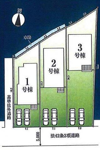 【区画図】青梅市師岡町1丁目 新築戸建全3棟