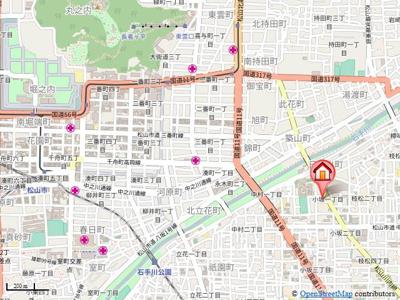 【地図】ロイヤルビラ南小坂・