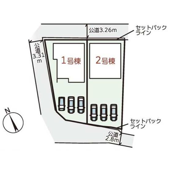 【区画図】橿原市西池尻町 新築(全2棟)2号棟