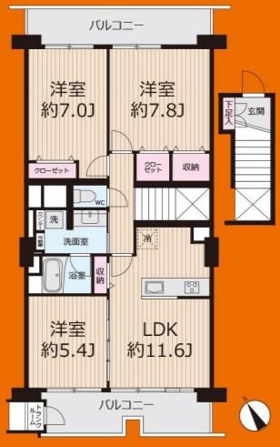 3LDK 価格4980万円 専有面積72.22m2 バルコニー面積14.81m2