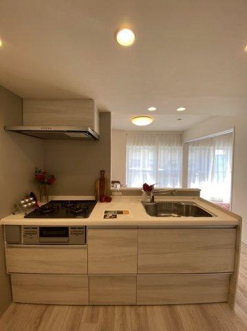 システムキッチン 対面式キッチン 3口コンロ シャワーヘッド・浄水器付き