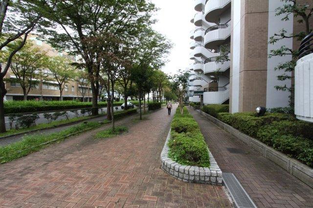 前面道路は、管理された植栽が並ぶ、緑豊かな遊歩道になっており、綺麗な街並みが広がります。 周辺は、生活に便利な施設が徒歩圏内に多数ございますので、大変り便利な立地です。