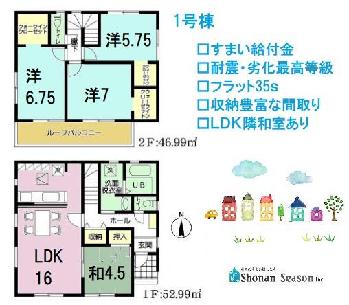 住宅性能評価をW取得した耐震性があり安心して暮らせる新築戸建て 間取りが魅力的な4LDK。ウォークインクローゼットが2か所と収納豊富な間取り◎