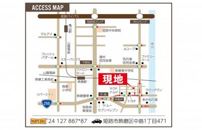 【地図】ワウハウス 飾磨区中島Ⅱ 2号地