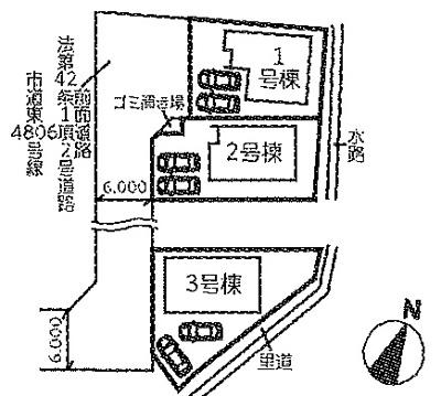 【区画図】月輪5丁目 全3棟 1号棟