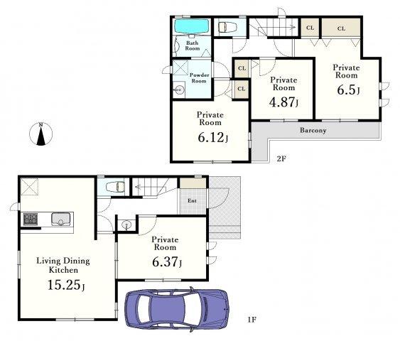 〔A号棟〕 4LDK+カースペース 、敷地面積82.83㎡、建物面積91.49㎡