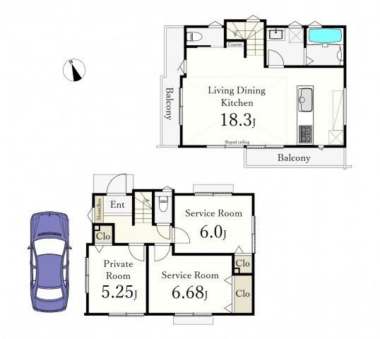 1号棟 1LDK+2S(納戸)、土地面積80.02m2、建物面積79.98m2 、カースペース付 2階ワンフロアタイプの広々18.3帖のLDKが魅力的♪♪