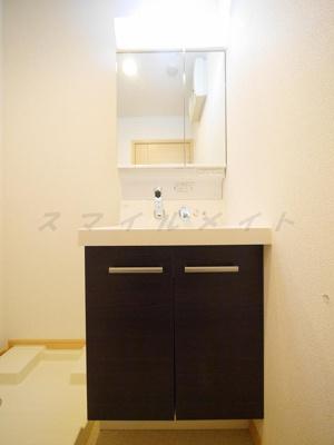 朝の身支度に便利な独立洗面台・2面鏡・シャンプードレッサー。