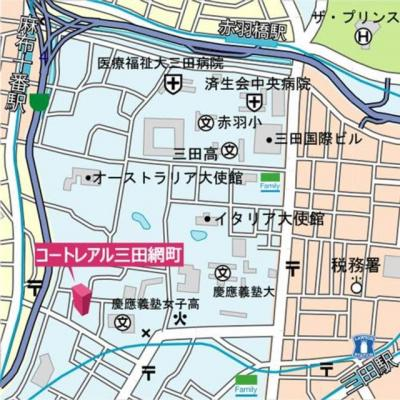 【地図】コートレアル三田綱町