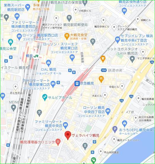 【地図】ヴェラハイツ鶴見