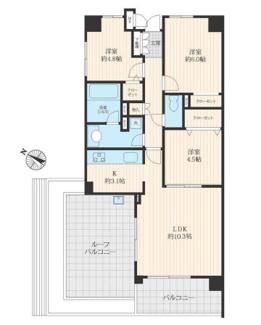 開放的な最上階の3方向角部屋、広々バルコニーは使い方自在です