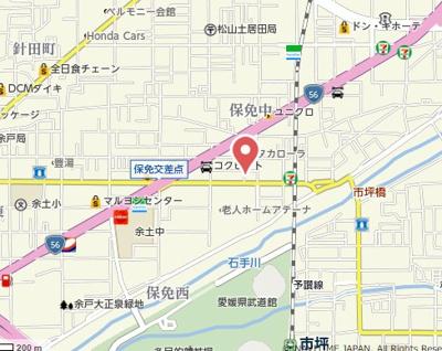 【地図】保免中2丁目貸家B