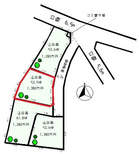 【土地図】【仲介手数料不要】建築条件なし 飯能市平松「34条11号」 全4区画2区画