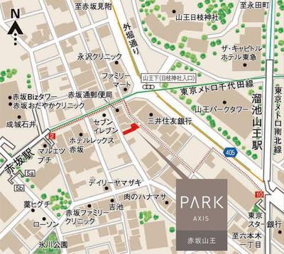 【地図】パークアクシス赤坂山王
