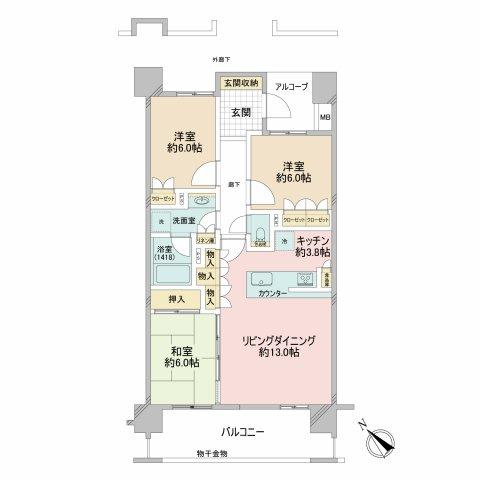 エルプレシア 専有面積はゆったり80.09㎡の3LDK 対面キッチン 奥行2mのワイドバルコニー 収納力豊富なリビング収納 食品庫 南西向きバルコニー