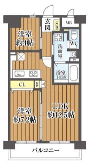 2LDK、価格3880万円、専有面積52.32m2、バルコニー面積7.08m2 令和3年2月末室内リフォーム完成♪