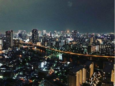 西側の眺望。大阪市内の夜景が一望できます。