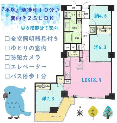 南向きバルコニーでLDKからも出入り可能、洗濯物も干しやすく便利!エレベーター付きなので、6階までも移動もスムーズですよ。ゆったりとした広さの間取りで、充実設備が整う暮らしやすいマンションです◎