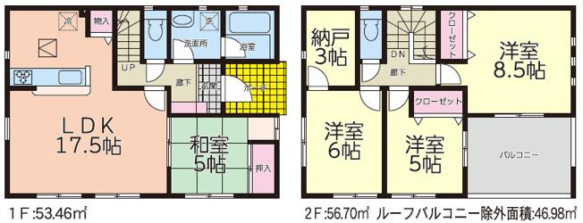 【区画図】大仙市大曲住吉町2号棟 大曲小学校区のオール電化4SLDK新築建売住宅